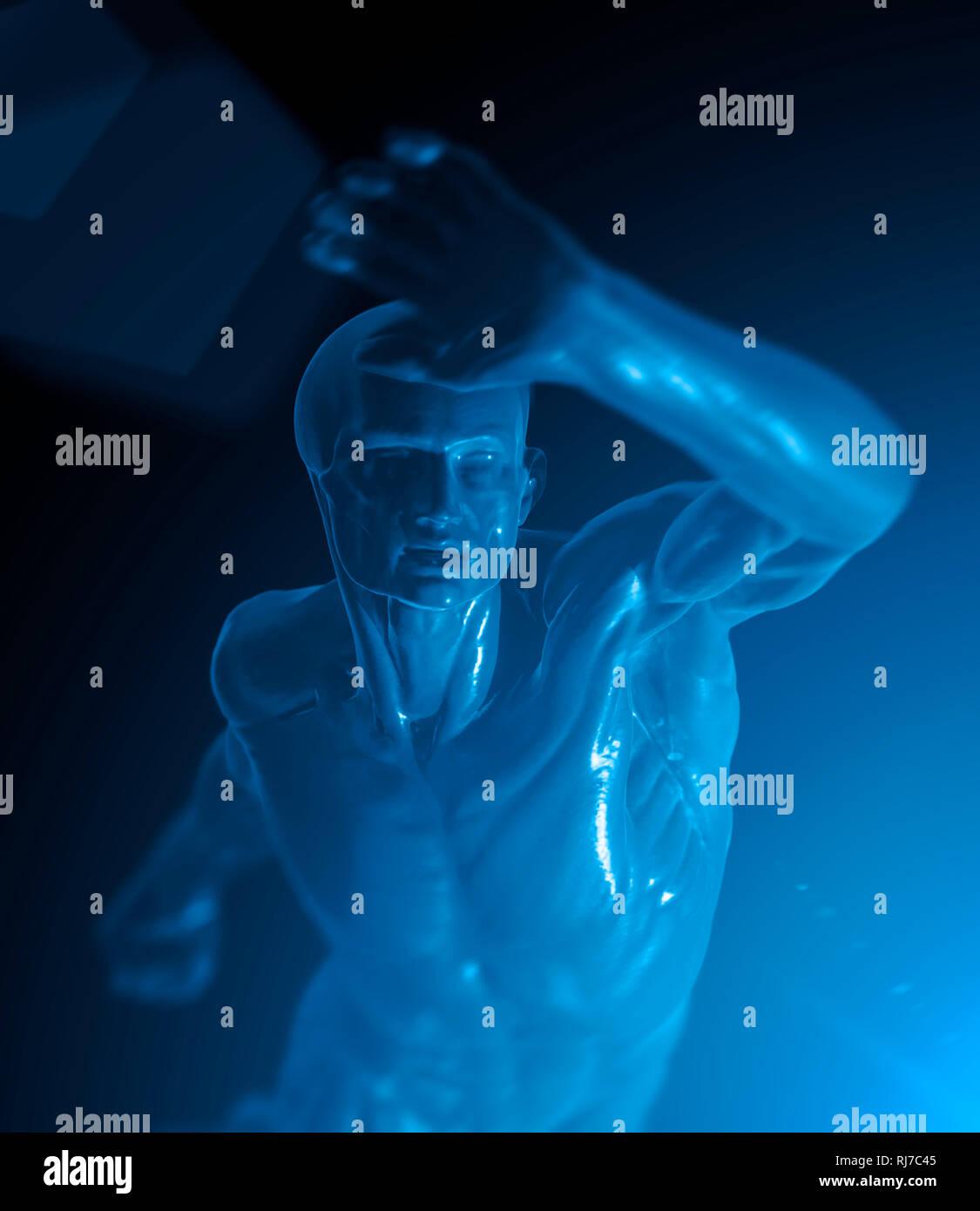 Menschliche Darstellung, Symbol Gesundheit, Abwehr, 3d - Stock Image