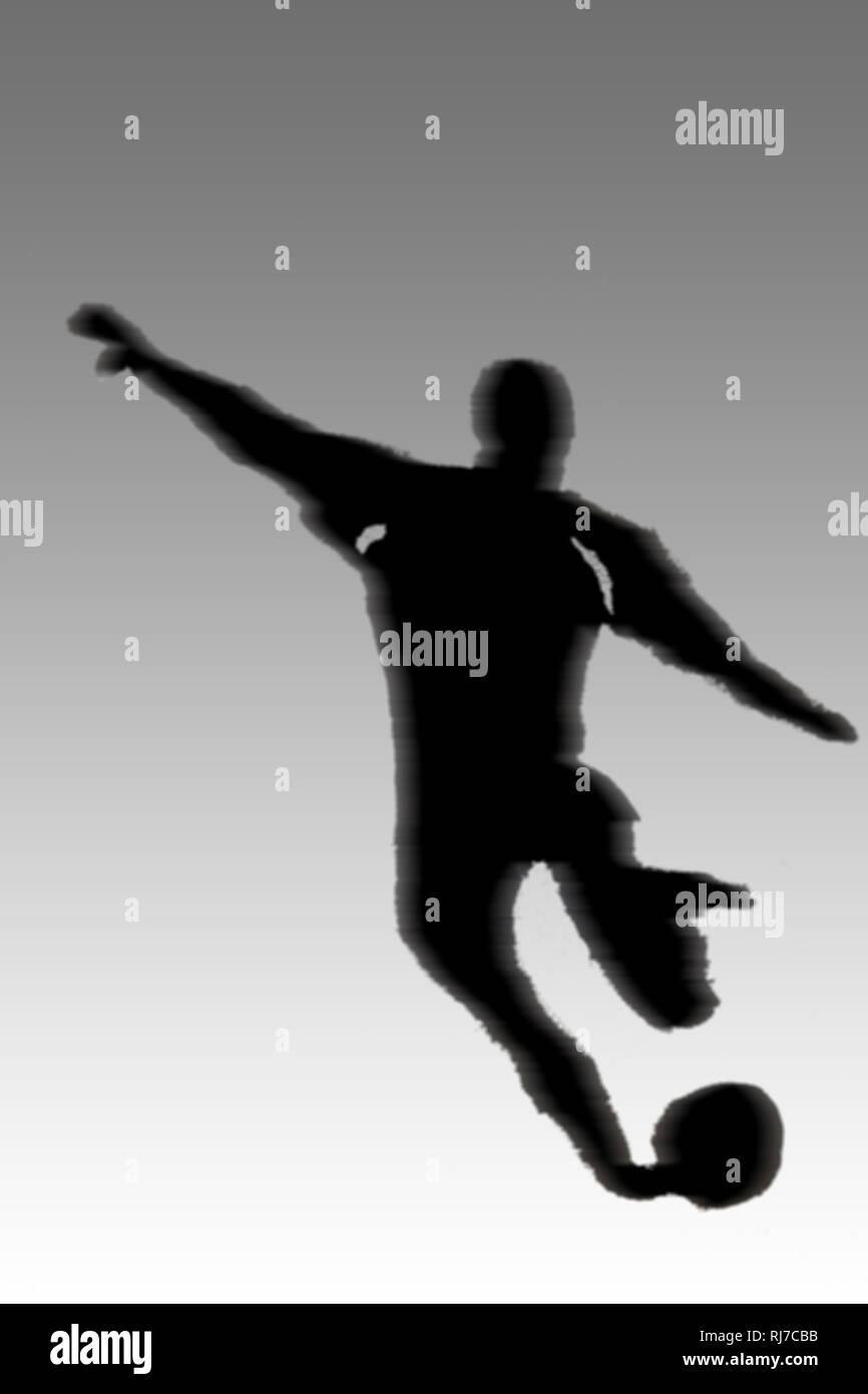 Der Umriss und die Illustration eines Fußballspielers während eines Schusses. - Stock Image