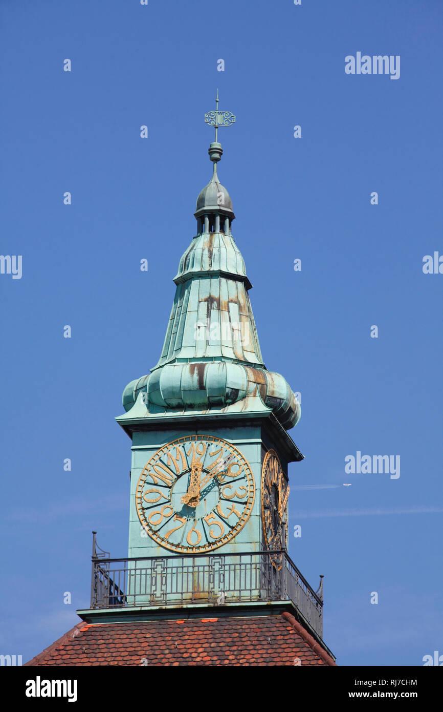 Uhrenturm, Firmenzentrale der Merck KGaA, Darmstadt, Hessen, Deutschland, Europa - Stock Image