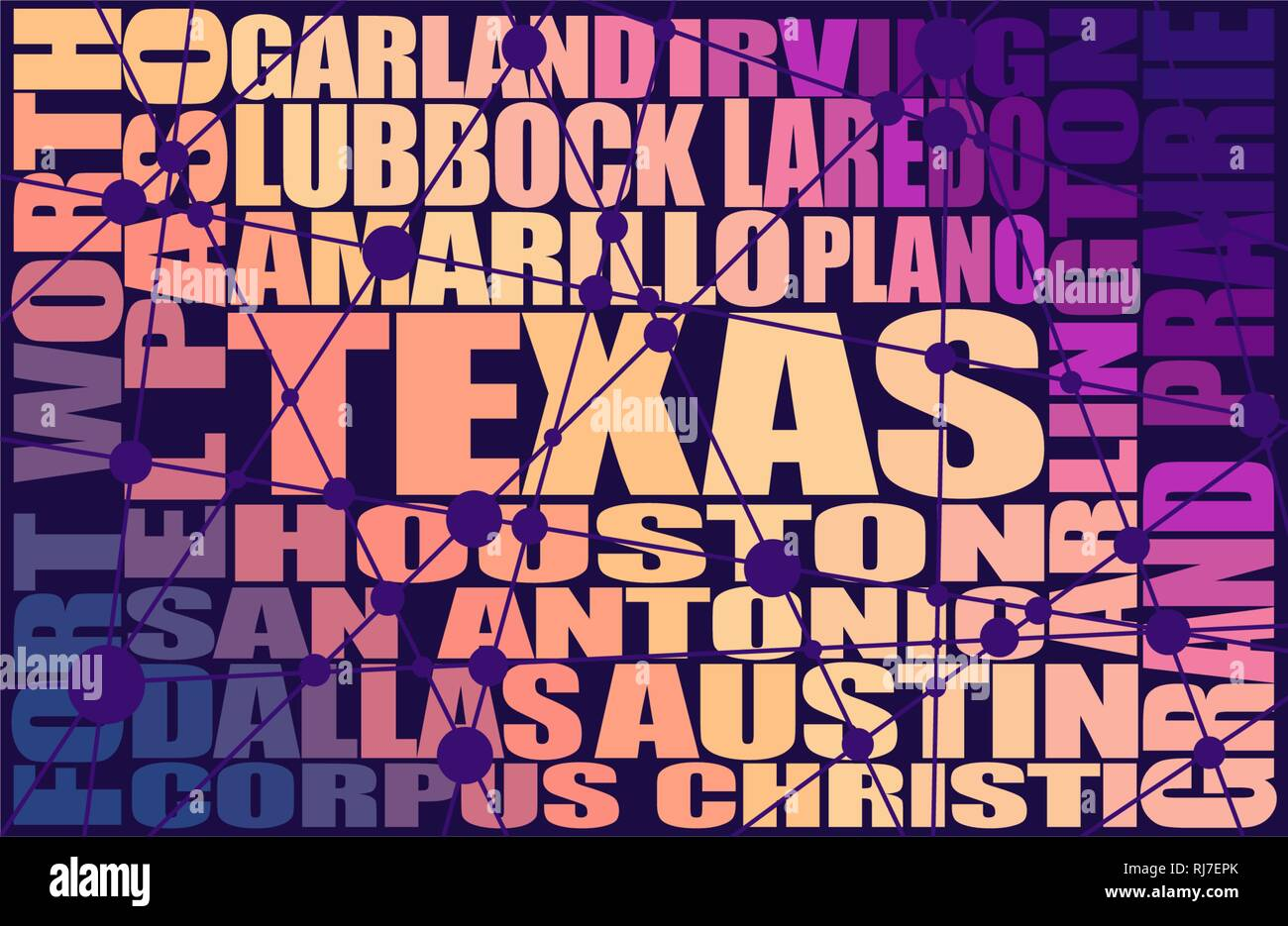 Texas state cities list Stock Vector
