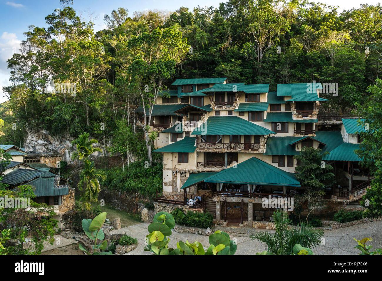 Große Antillen, Karibik, Dominikanische Republik, Samana, Los Haitises, ökologisches Hotel im Nationalpark Los Haitises Stock Photo