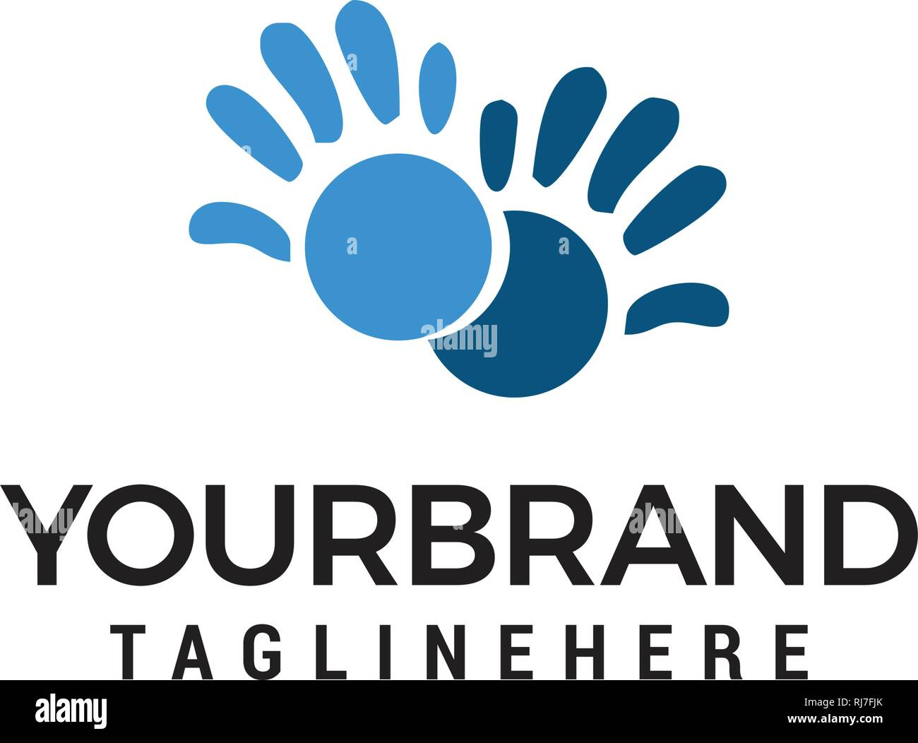 Vector Hand care Childish Support symbol. Two hands Design Template - Stock Vector