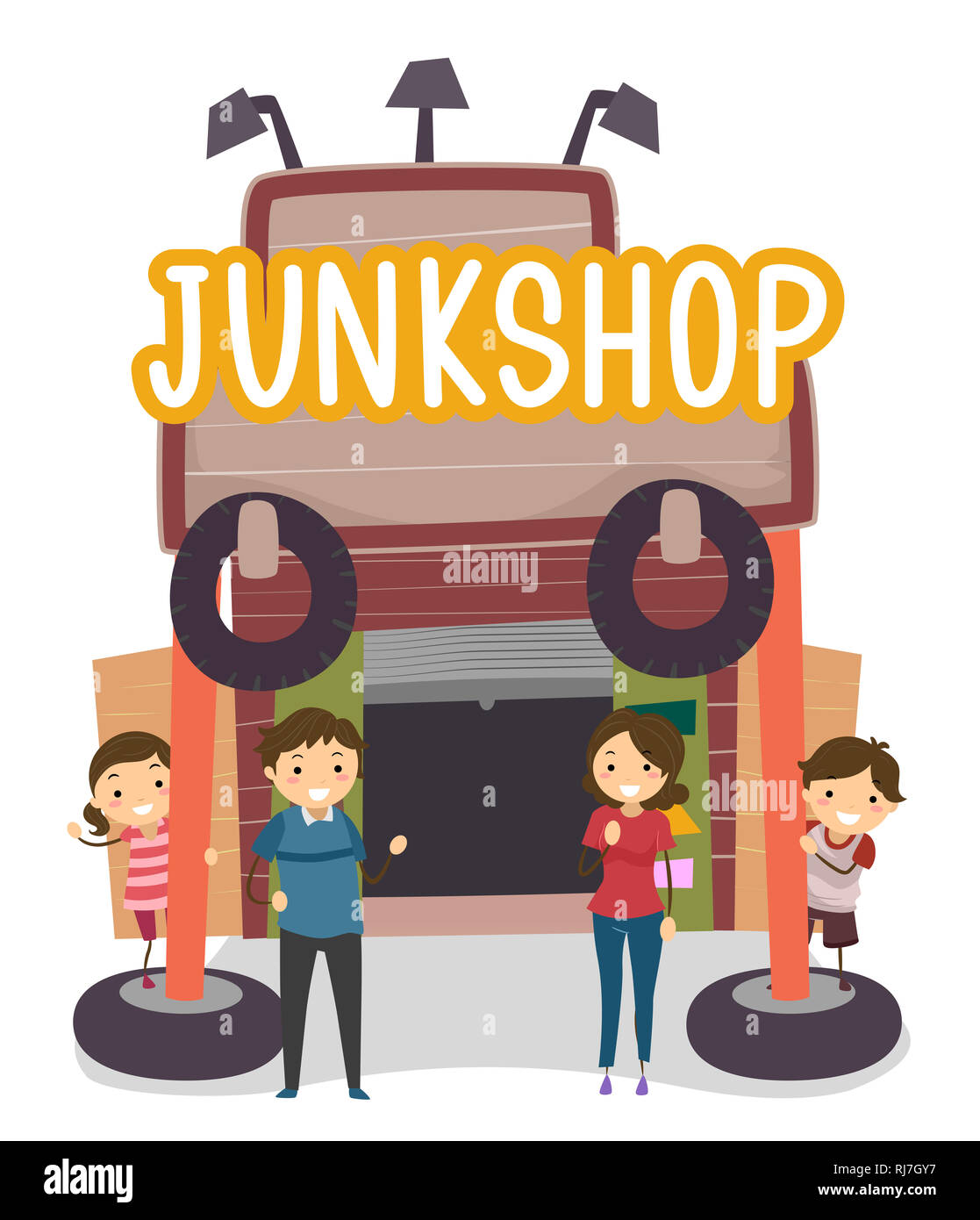 Illustration of Stickman Family in Front of their Junk Shop - Stock Image