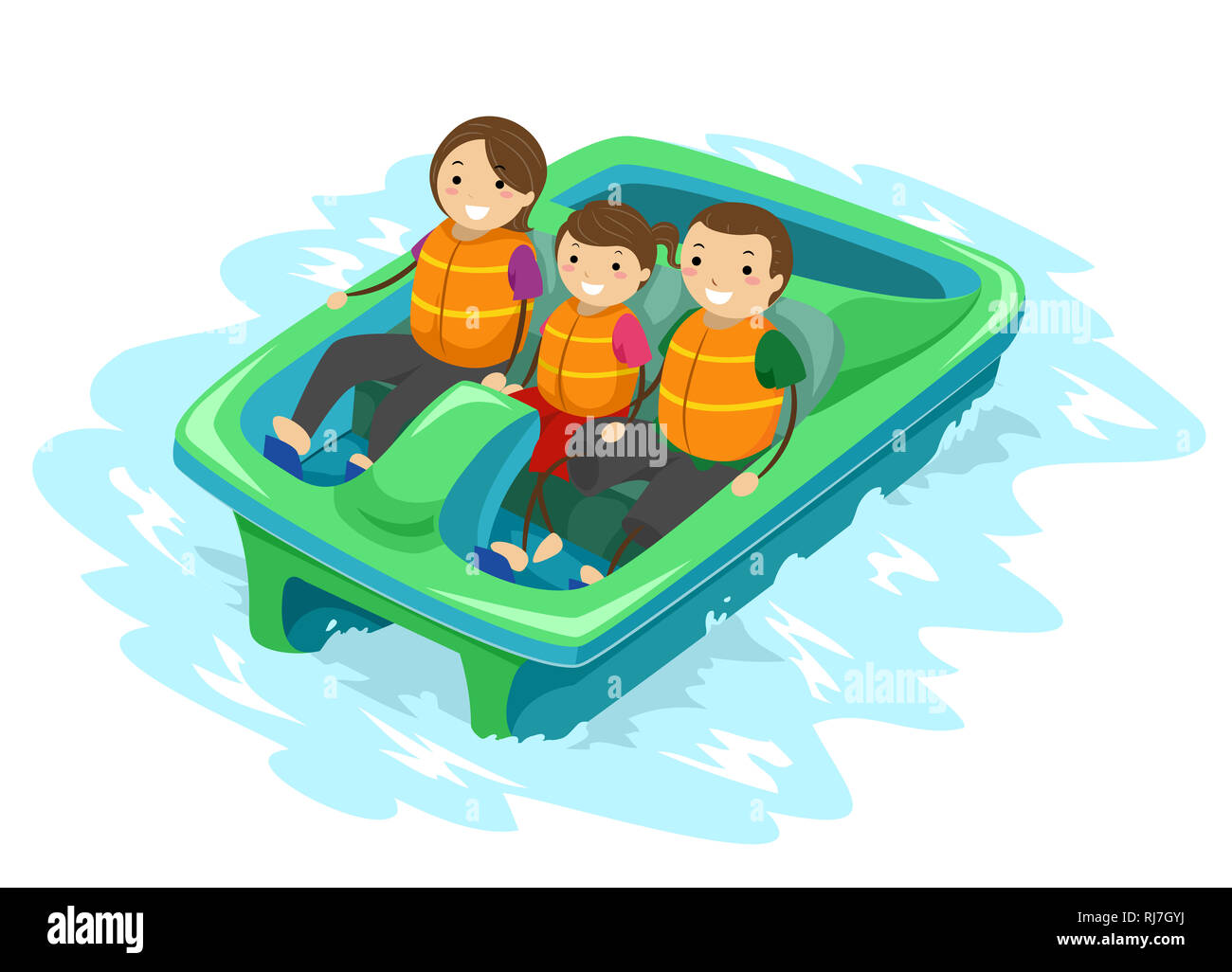 Illustration of a Stickman Kid Girl with Parents Riding a Paddle Boat in the Park - Stock Image