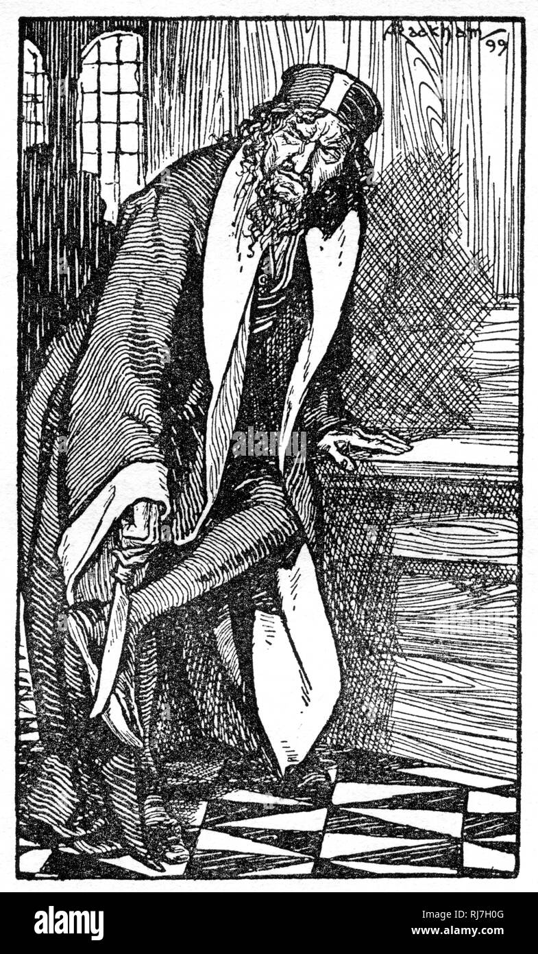 Shylock was sharpening a long knife. Shylock is a character in William Shakespeare's play The Merchant of Venice (c1600). A Venetian Jewish moneylender, Shylock is the play's principal antagonist. - Stock Image