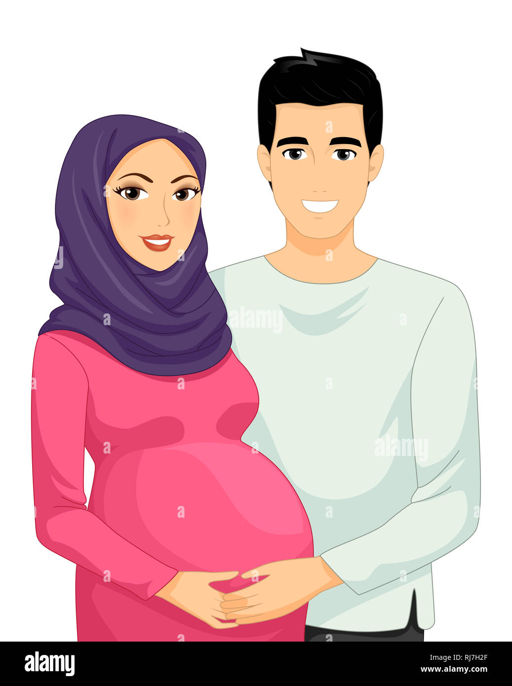 Illustration of a Muslim Pregnant Woman with Her Husband