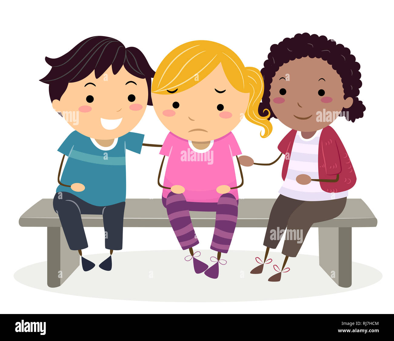 Illustration of a Stickman Kid Girl Crying with Her Friends Cheering Her Up - Stock Image