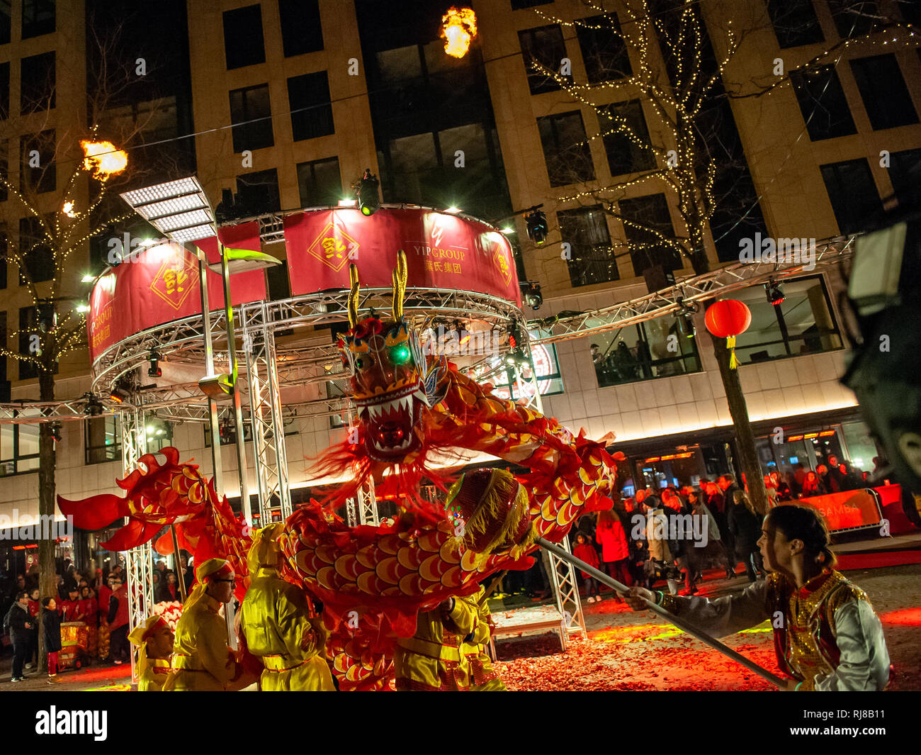 Chinese dragon dance during the Chinese New Year