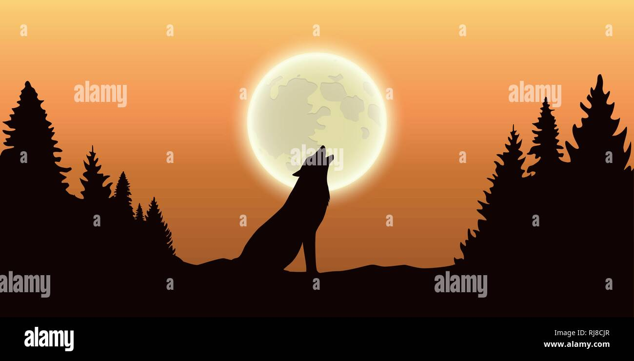 wolf howls at the full moon in forest orange sky vector illustration EPS10 - Stock Image