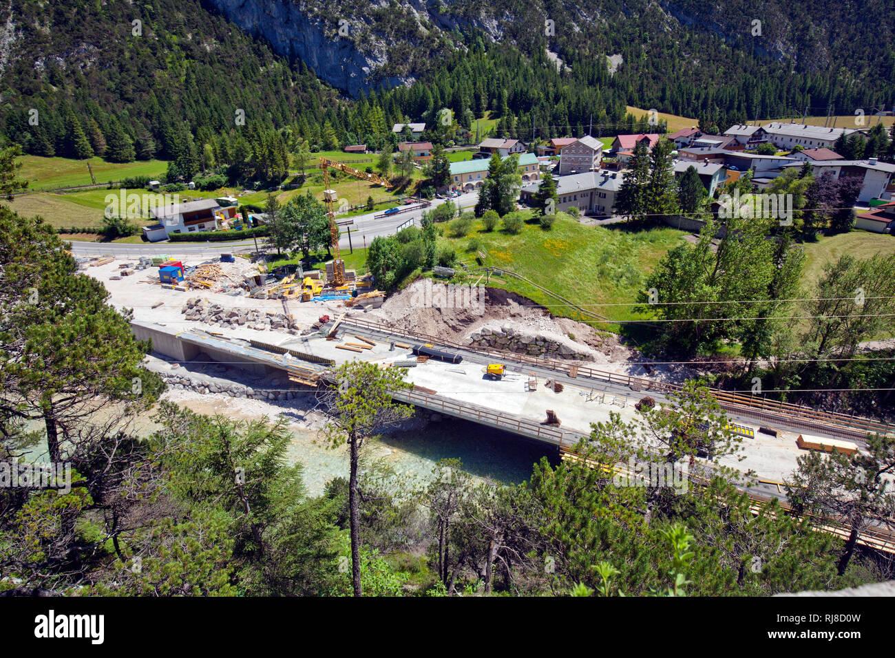 Baustelle Scharnitztunnel Brücke über die Isar Stock Photo