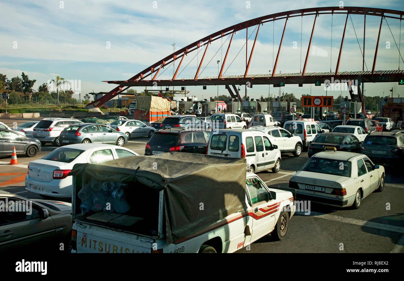 Mautstation, Autoverkehr, Stau, Marokko - Stock Image