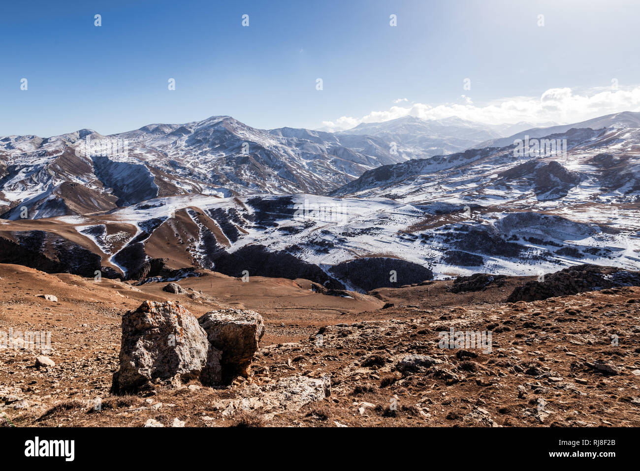 Winter snowy mountains, highlands Stock Photo