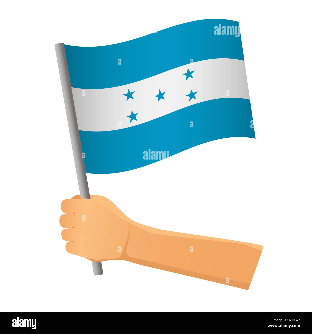 Honduras flag in hand. Patriotic background. National flag of Honduras  illustration Stock Photo