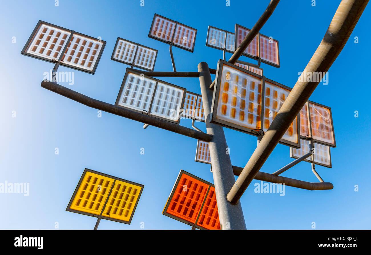 Solarzellen, Solarbaum, Ulmer Wohnviertel Solar City, Ulm, Baden-Württemberg, Deutschland, Europa - Stock Image