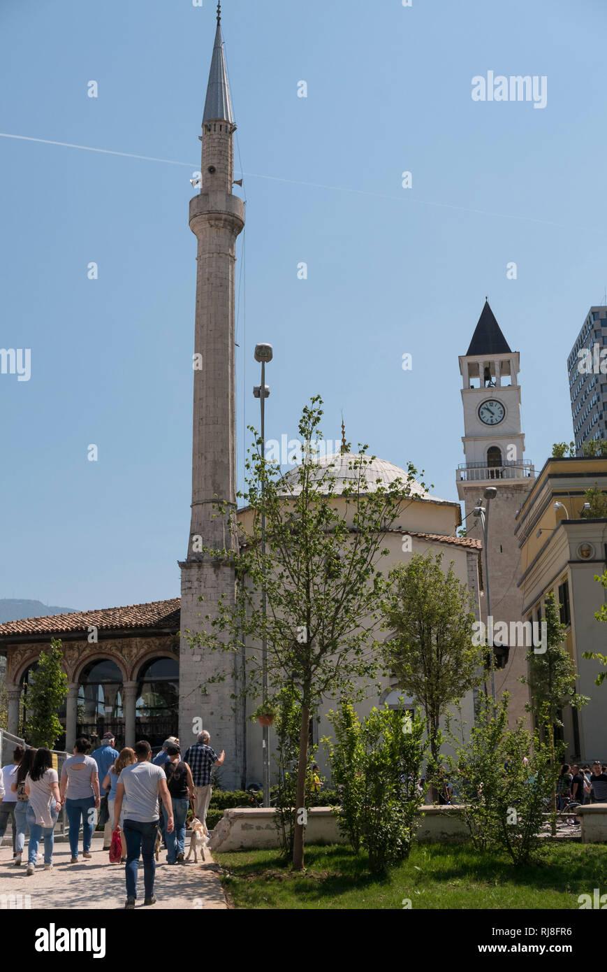 Albanien, Balkanhalbinsel, Südosteuropa, Republik Albanien, Hauptstadt Tirana, Et'hem-Bey-Moschee - Stock Image