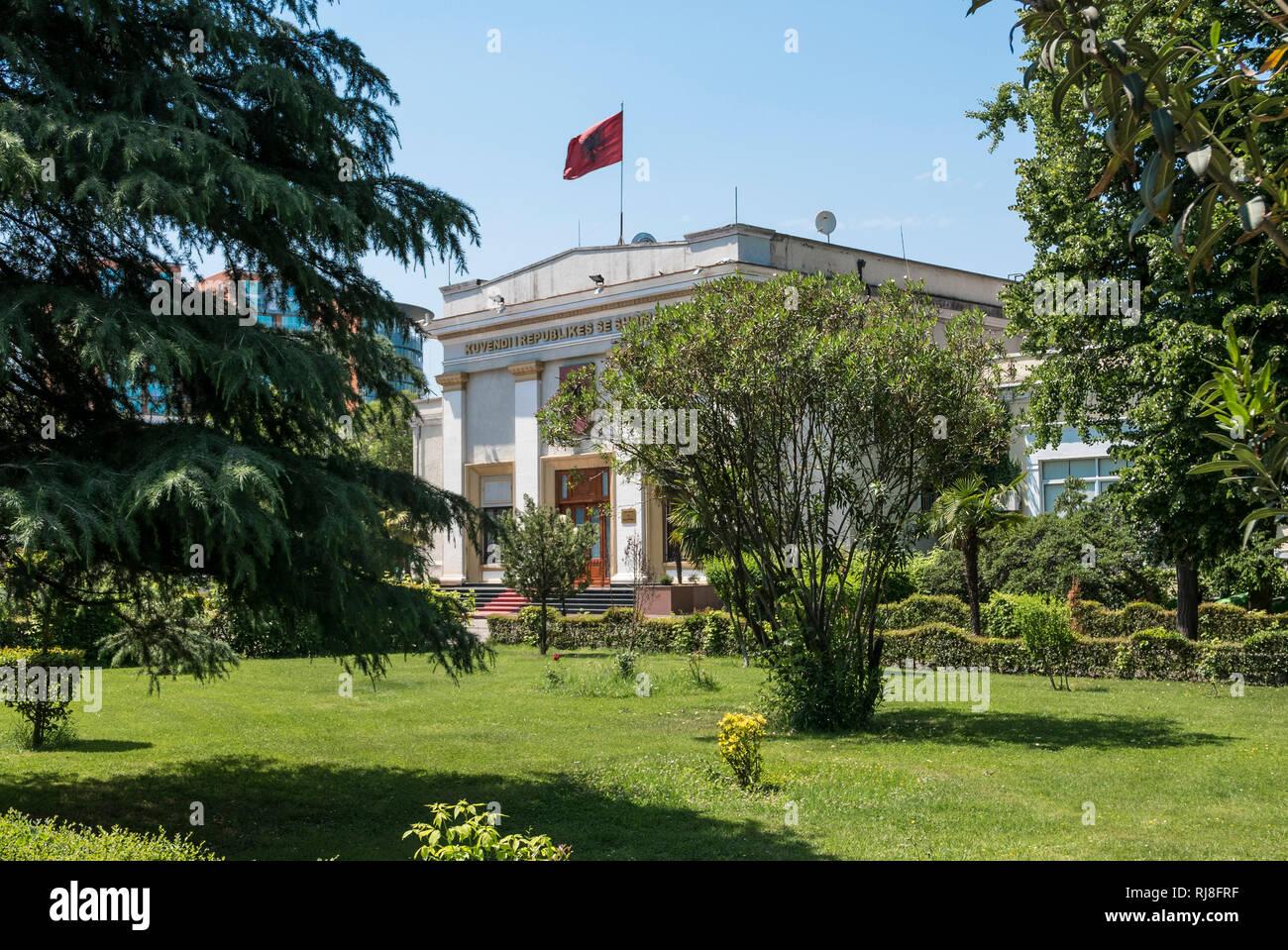 Albanien, Balkanhalbinsel, Südosteuropa, Republik Albanien, Hauptstadt Tirana, Albanisches Parlament - Stock Image