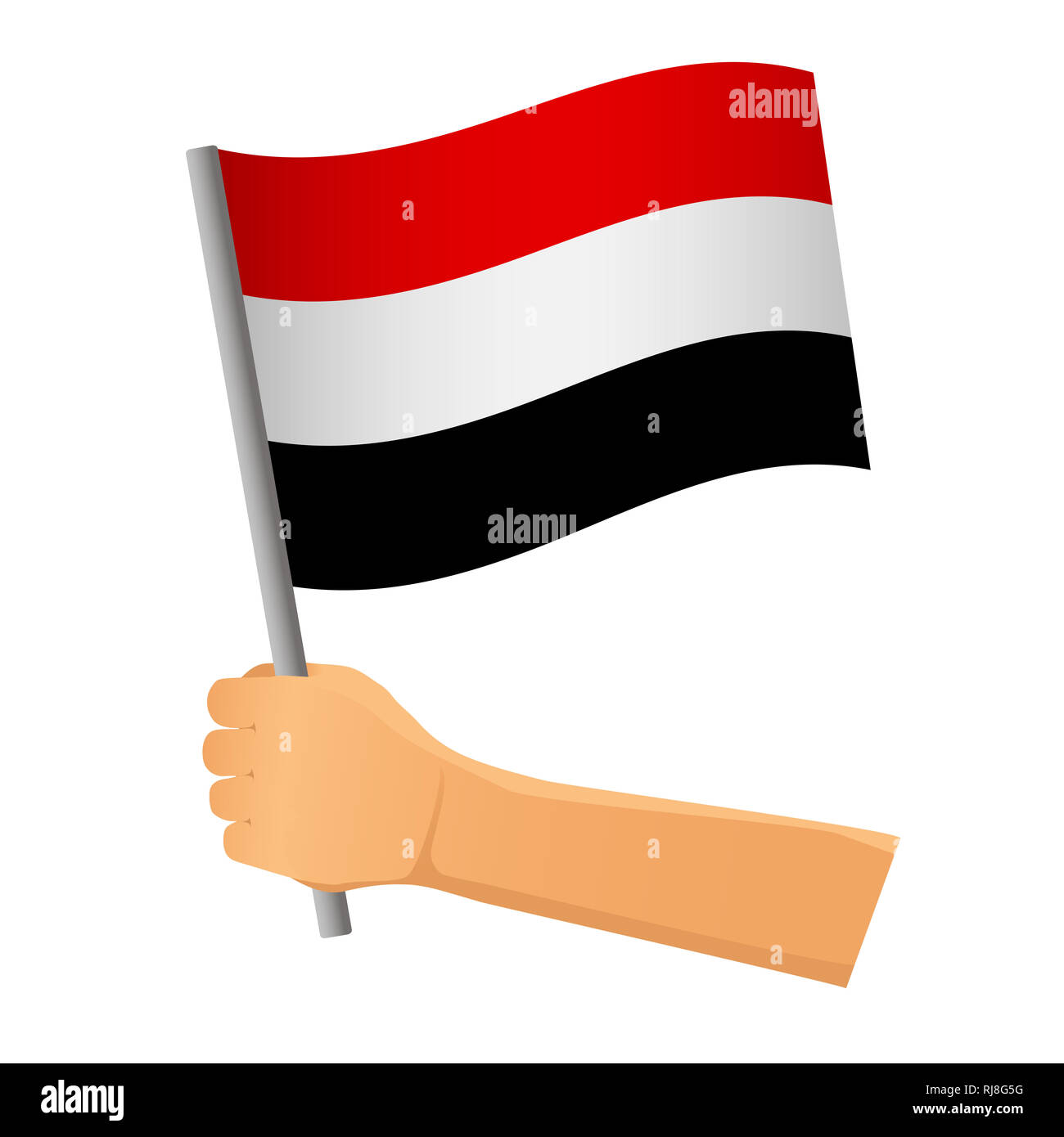 Yemen flag in hand. Patriotic background. National flag of Yemen  illustration - Stock Image