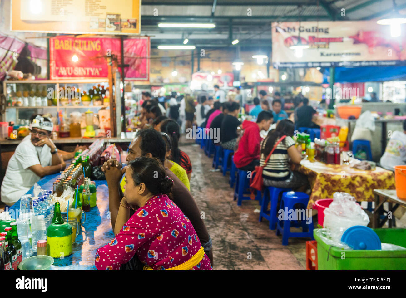 der Nachtmarkt in Denpasar Stock Photo