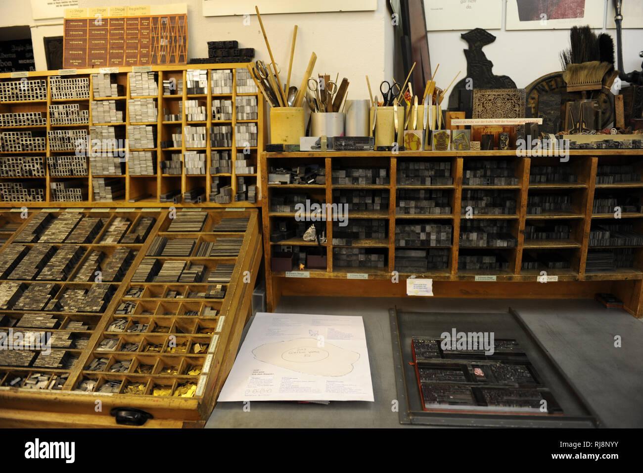 Druckerei, Innenaufnahme - Stock Image
