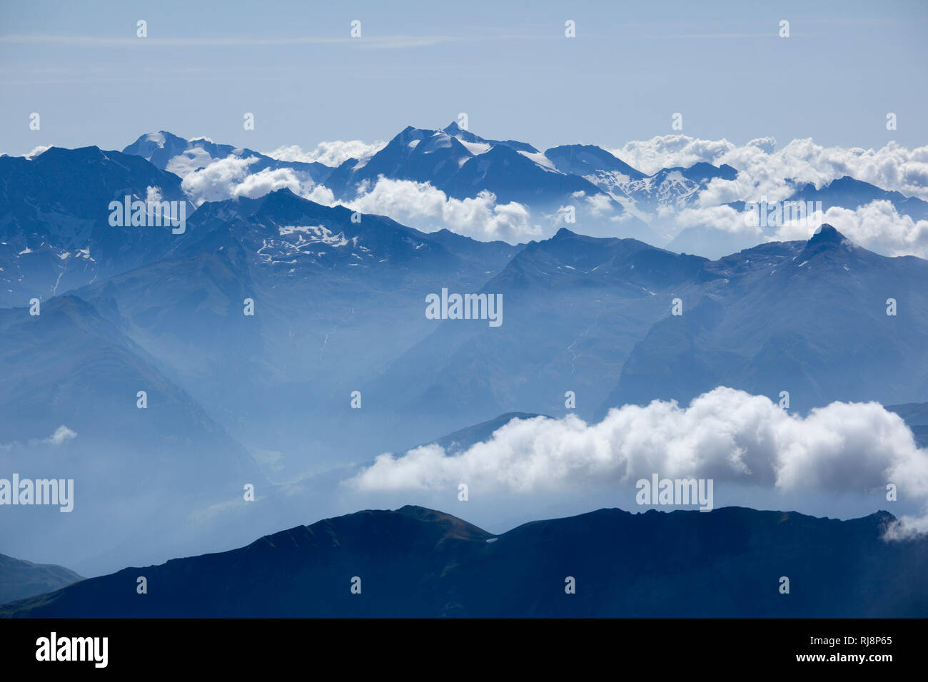 Blick vom Habicht auf den Hochfeiler, Zillertaler Alpen, Tirol, Österreich Stock Photo
