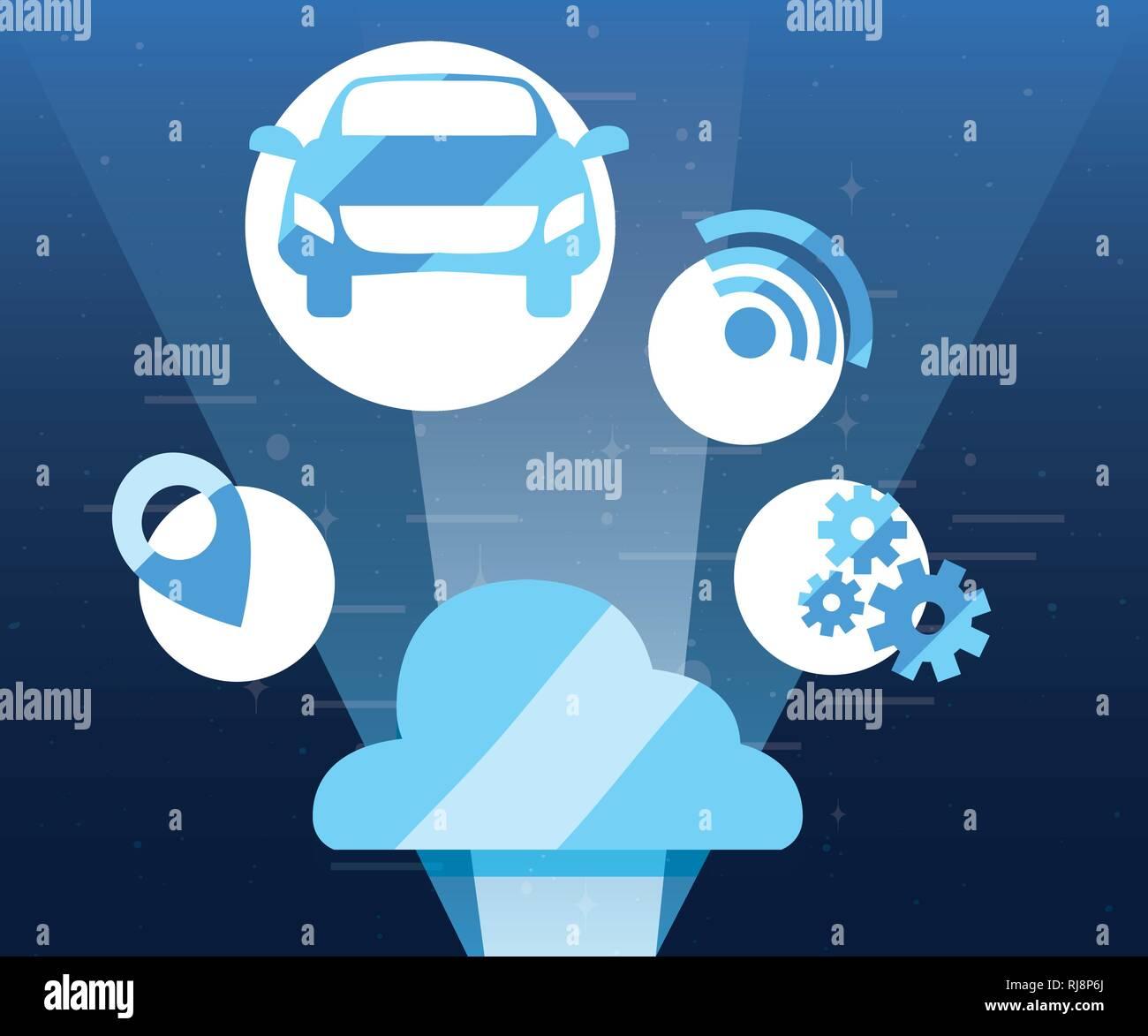 autonomous smart car cloud storage location tools vector illustration - Stock Image