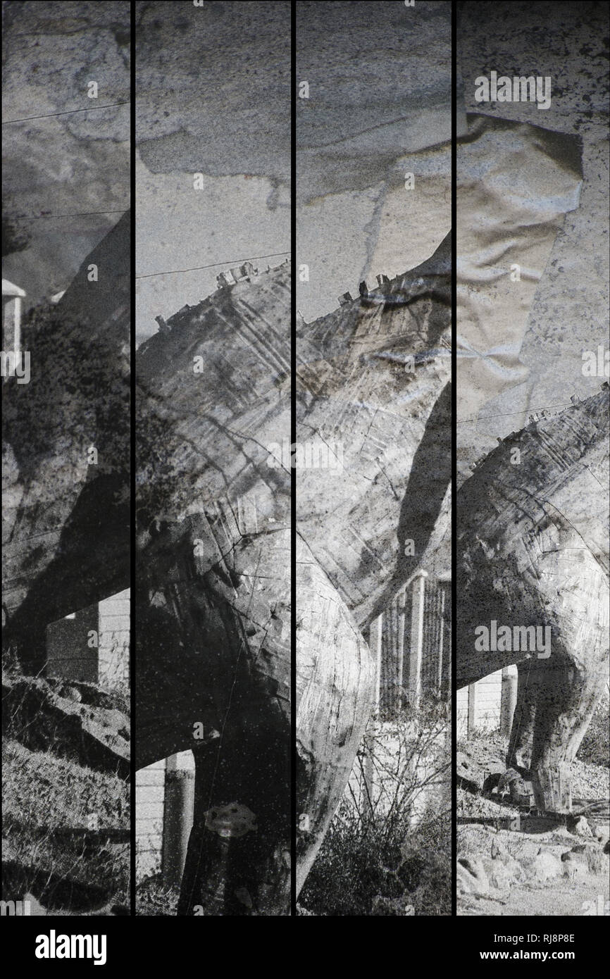 Montage von großen zusammengeschweißten Dinosaurier Skulpturen - Stock Image