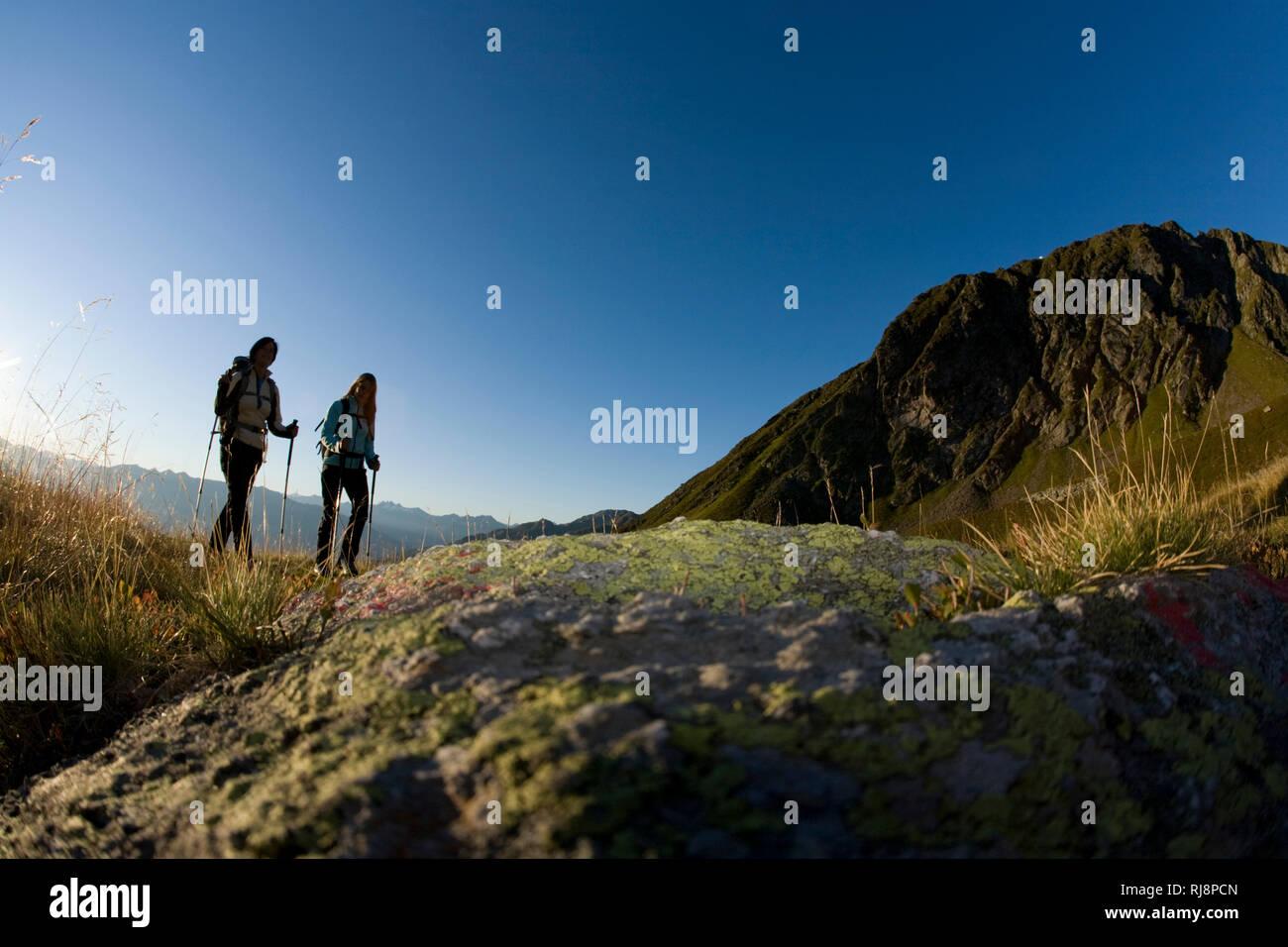 Wanderszene am Kellerjoch, Tuxer Alpen, Zillertal, Tirol, Österreich Stock Photo