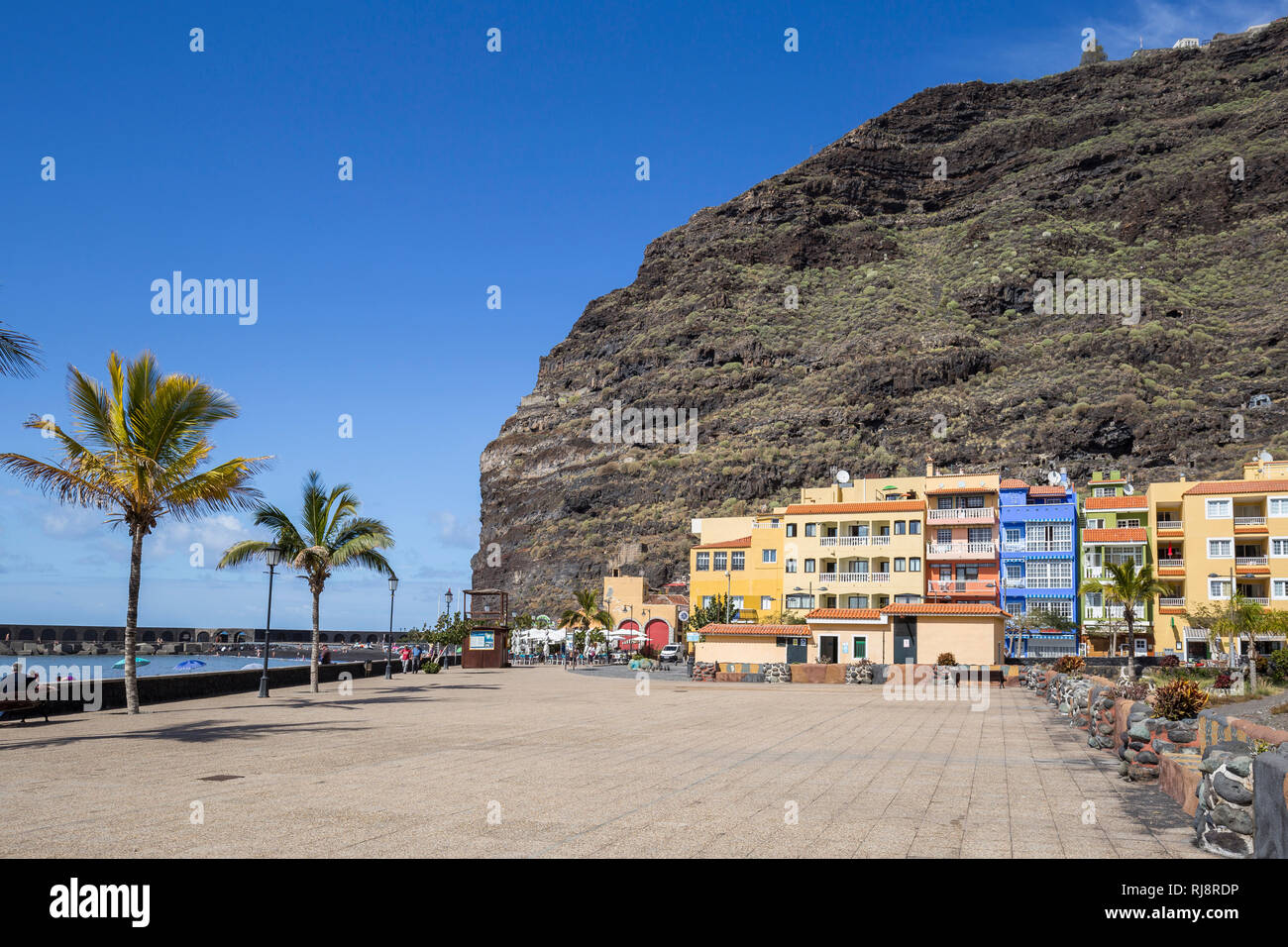 Promenade, Puerto de Tazacorte, La Palma, Kanarische Inseln, Spanien Stock Photo