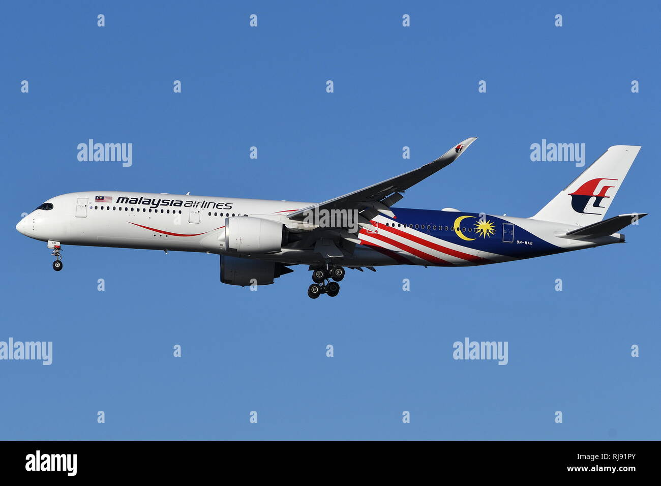 AIRBUS A350-900 9M-MAG OF MALAYSIA AIRLINES. - Stock Image