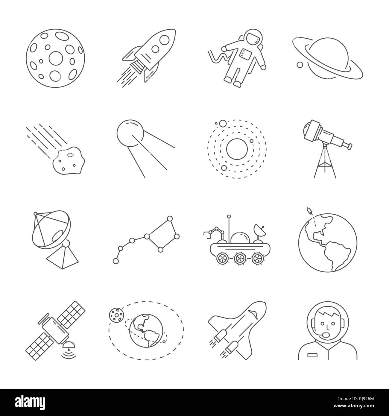 Astronomy and Space symbols collection. Thin line icons of the space theme. Contains such icons as Moon, Saturn, Earth, satellite, telescope, solar Stock Vector