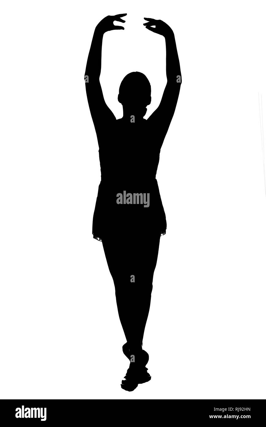 JPG black silhouette of young teen female on white background in various classical and contemporary ballet poses - pre pointe in ballet slippers. - Stock Image