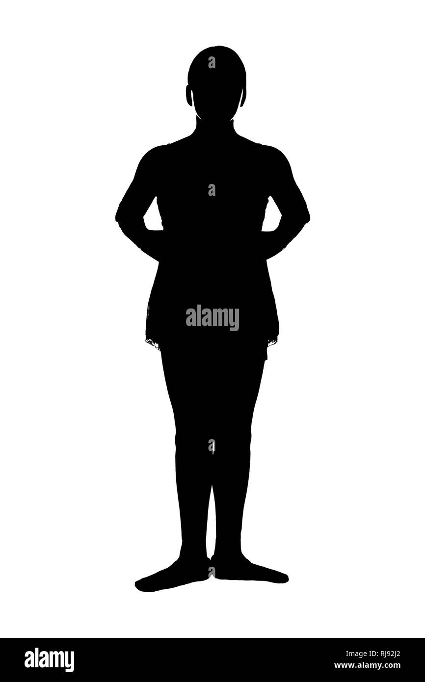 JPG of young teen female ballet dancer in RAD ballet poses black silhouette on white background; First 1st position from teacher's perspective - Stock Image