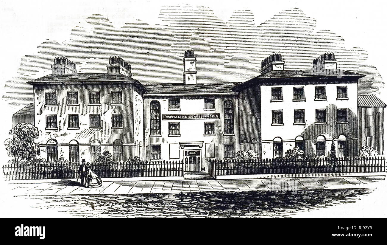 An engraving depicting Leamington Hospital for diseases of the skin. Dated 19th century - Stock Image