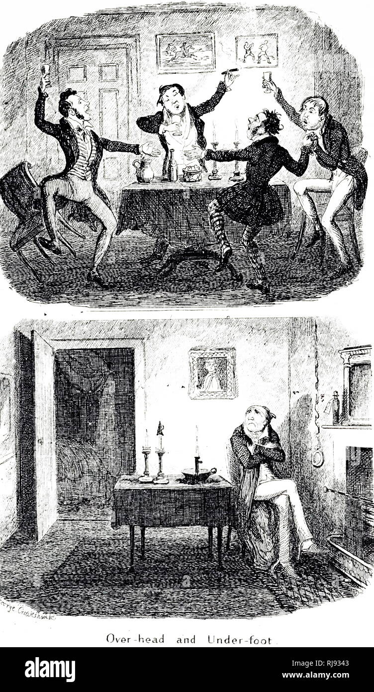 A cartoon depicting noisy lodgers on disturbing the tenant below. Illustrated by George Cruikshank (1792-1878) a British caricaturist and book illustrator. Dated 19th century - Stock Image