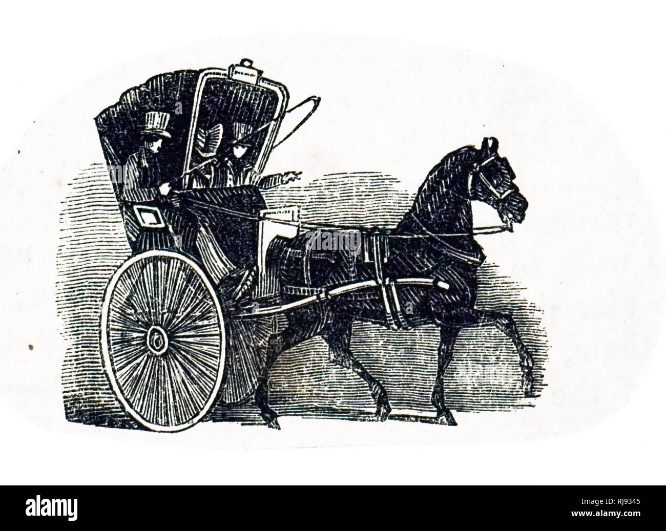 An engraving depicting a Hackney cab. Dated19th century - Stock Image
