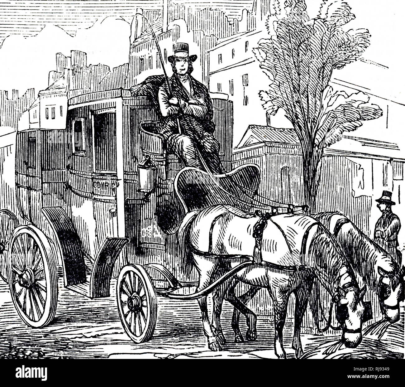 An engraving depicting a fiacre, a form of a hackney coach, a horse-drawn four-wheeled carriage for hire in Paris. Dated 19th century - Stock Image