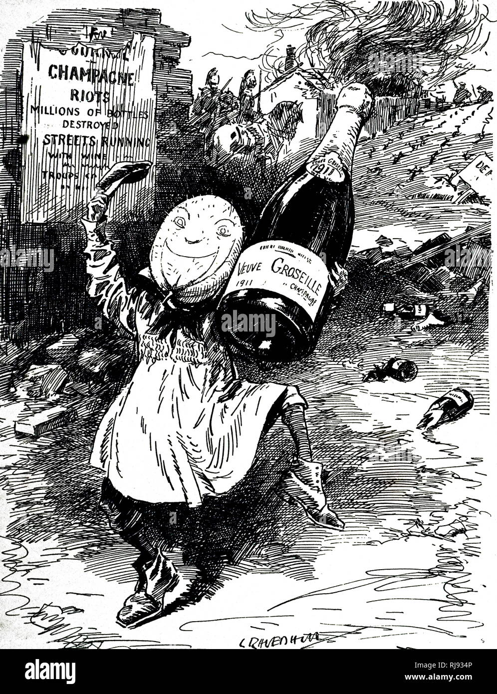 A cartoon commenting on the great year for homemade wines - riots in the Champagne district. Dated 20th century - Stock Image