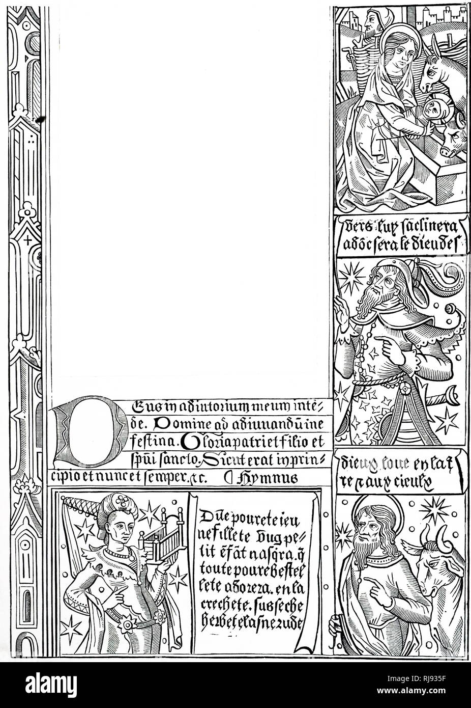 A French woodcut illustrating the Christmas Story. Dated 15th century - Stock Image