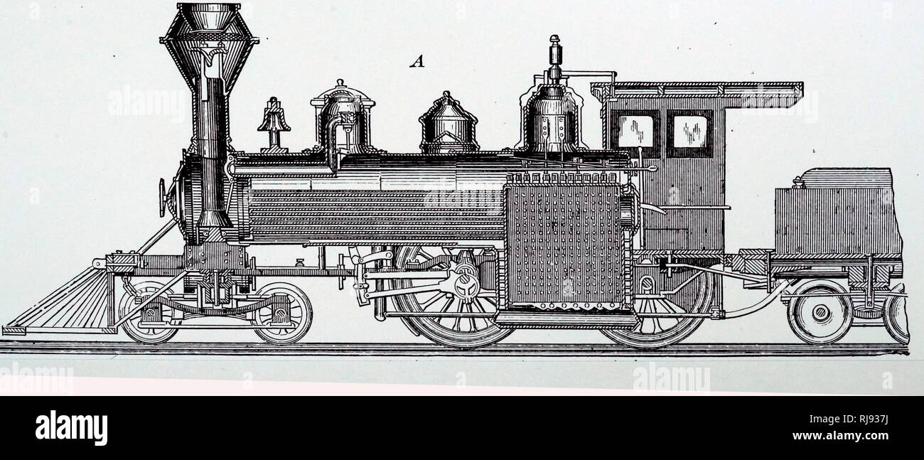 An engraving depicting the central longitudinal section of a locomotive by Baldwin Locomotive Works. Dated 19th century Stock Photo