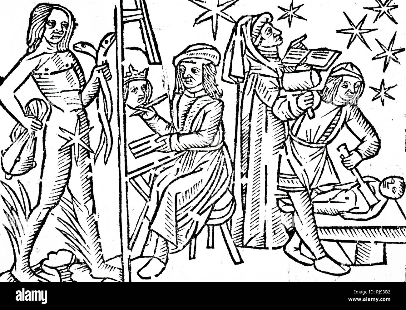 A woodcut engraving depicting Mercury and the activities under its government. Mercury was considered a male planet, and as dry and passive. Those born under Mercury were eloquent and inventive and loved science especially mathematics, and were tall, slender and delicate. The planet's metal was quicksilver, its day Wednesday and its night Saturday. It was friendly to the Sun and hostile to Venus and had two houses, Gemini by day and Virgo by night. Dated 16th century - Stock Image