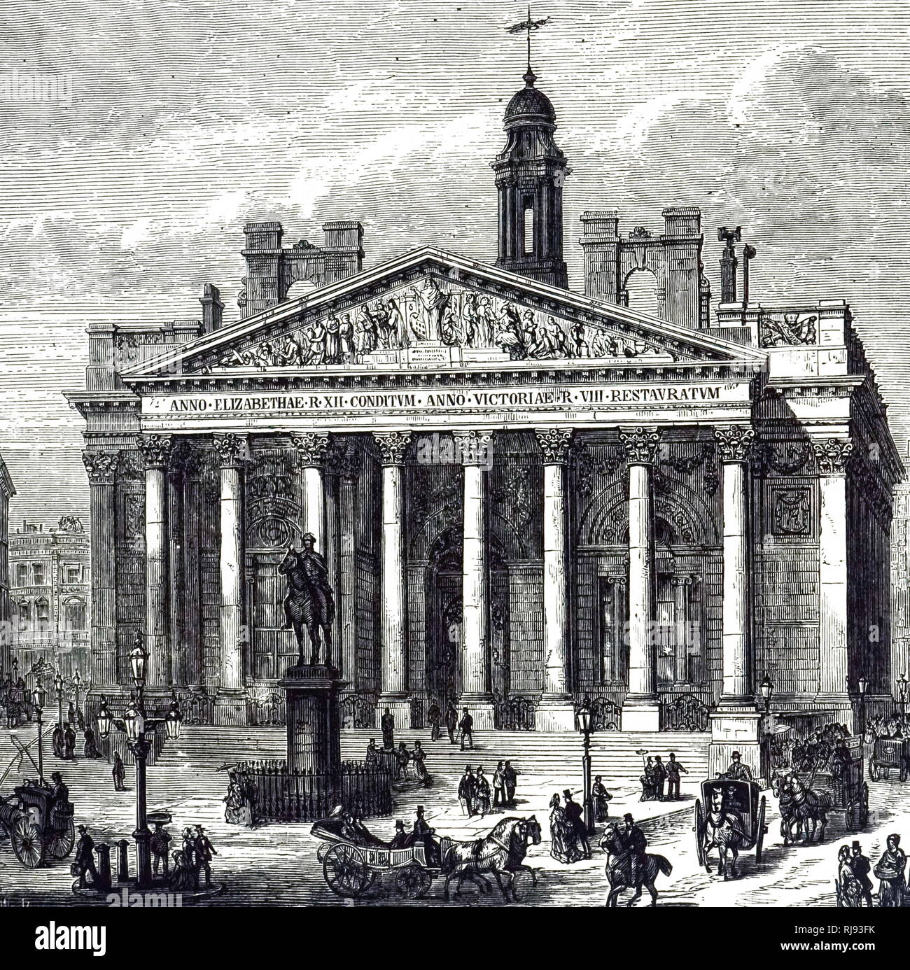 An engraving depicting the Royal Exchange, London. Dated 19th century - Stock Image