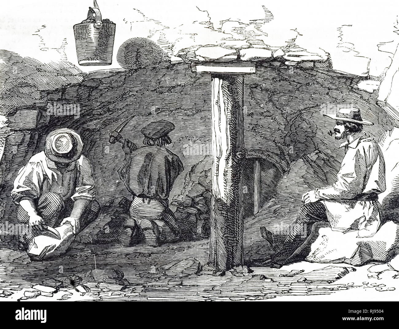 An engraving depicting men dry digging during the New South Wales gold rush, Australia. Dated 19th century - Stock Image