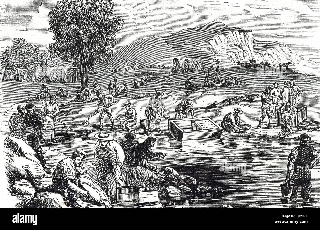 An engraving depicting men washing for gold during the New South Wales gold rush, Australia. Dated 19th century - Stock Image