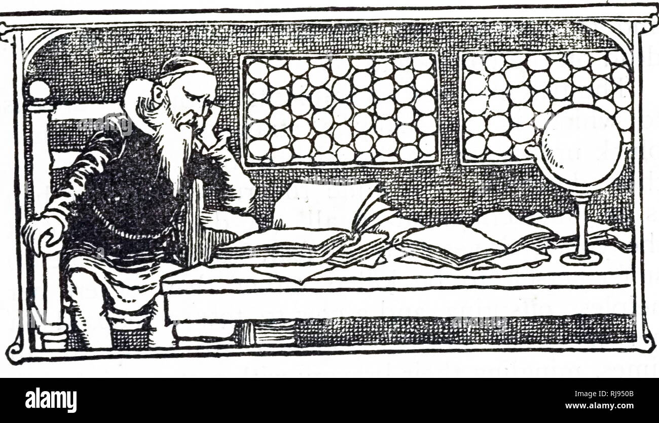 An engraving depicting a scholar reading his texts. Dated 20th century Stock Photo