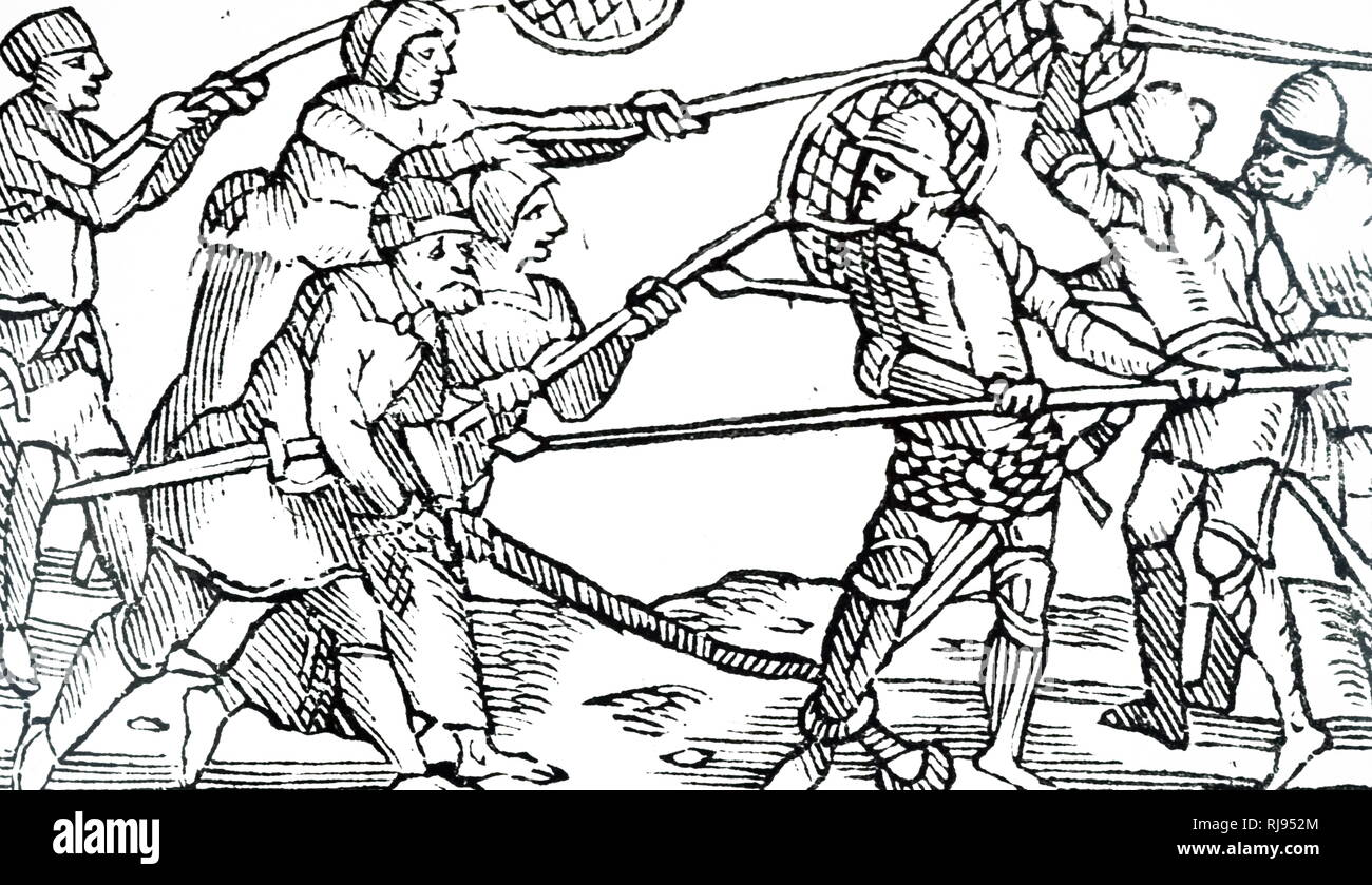 A woodcut engraving depicting Finnish soldiers using nets against their enemies. Dated 16th century - Stock Image