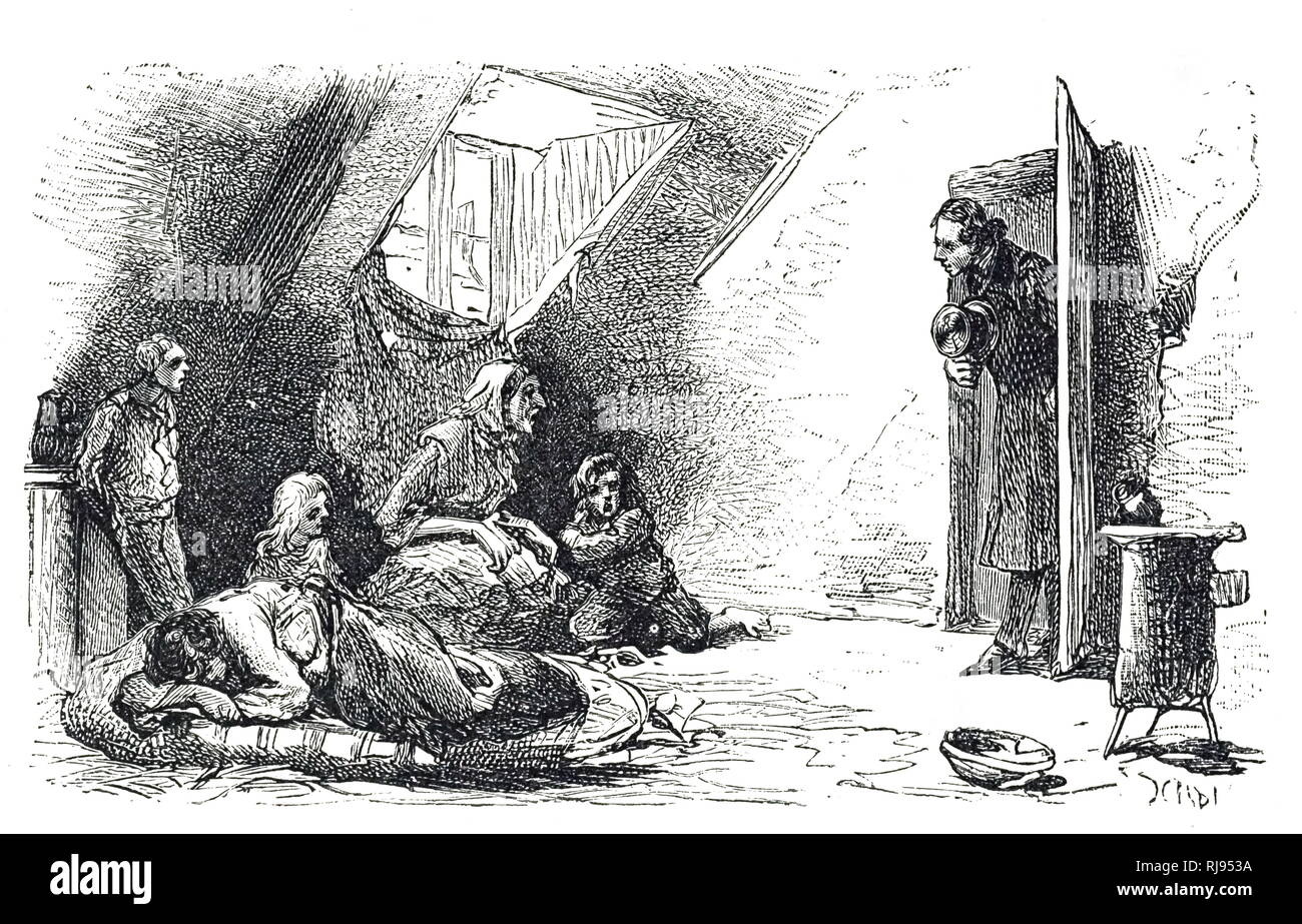 An engraving depicting a rent collector visiting an impoverished family in a Paris attic. Dated 19th century - Stock Image