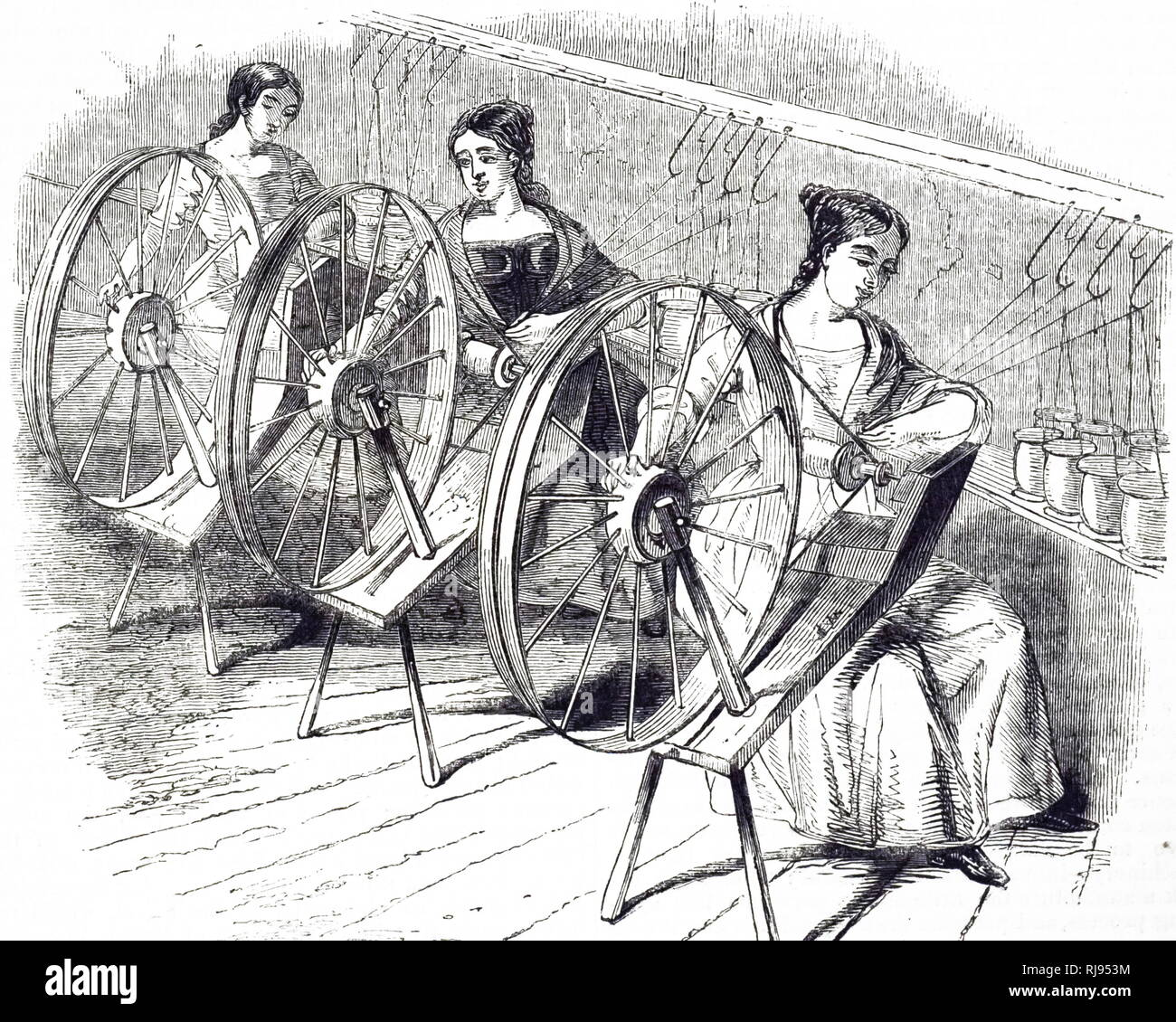 An engraving depicting the method of doubling silk in Lombe's Silk Mill, Derby. In this process, two or more of the spun threads laid parallel on a bobbin ready to be twisted on the throwing machine. Dated 19th century - Stock Image