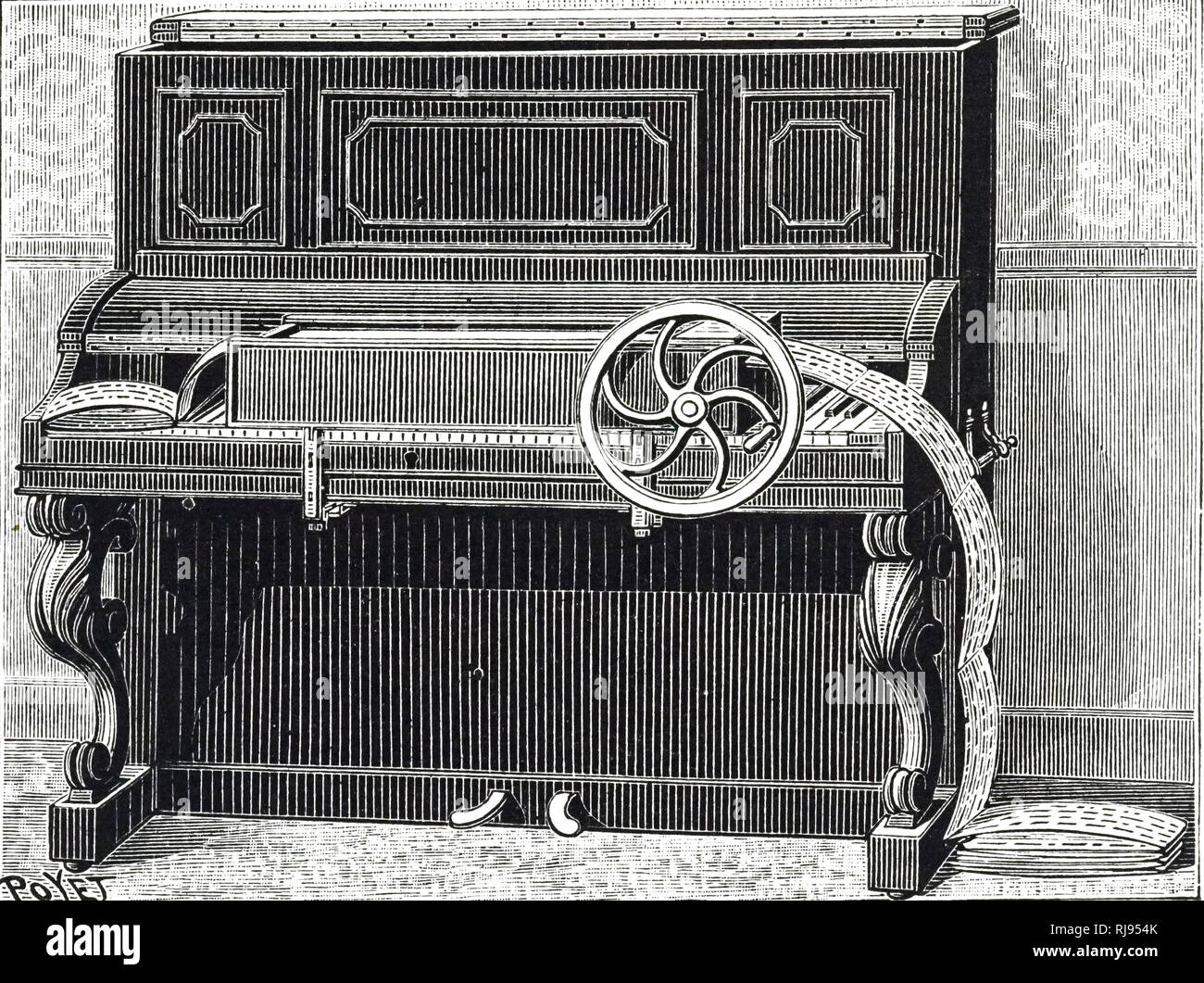 An engraving depicting a Melotrope - an early form of a player-piano by Jules Carpentier which used a punched tape to operate the piano. Jules Carpentier (1851-1921) a French engineer and inventor. Dated 19th century - Stock Image