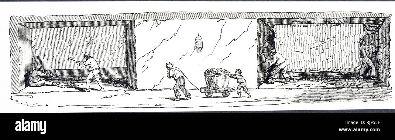 An engraving depicting miners forming a 'bord' (left) which entailed digging out coal from the bottom to a depth of about 1m. Next, a 'Judd' was formed (right) by removing the coal at the sides. The projecting mass was then ready for blasting. In the centre are a dragman and his 'foal' taking a corf of coal towards the bottom of the pit shaft. Dated 19th century - Stock Image