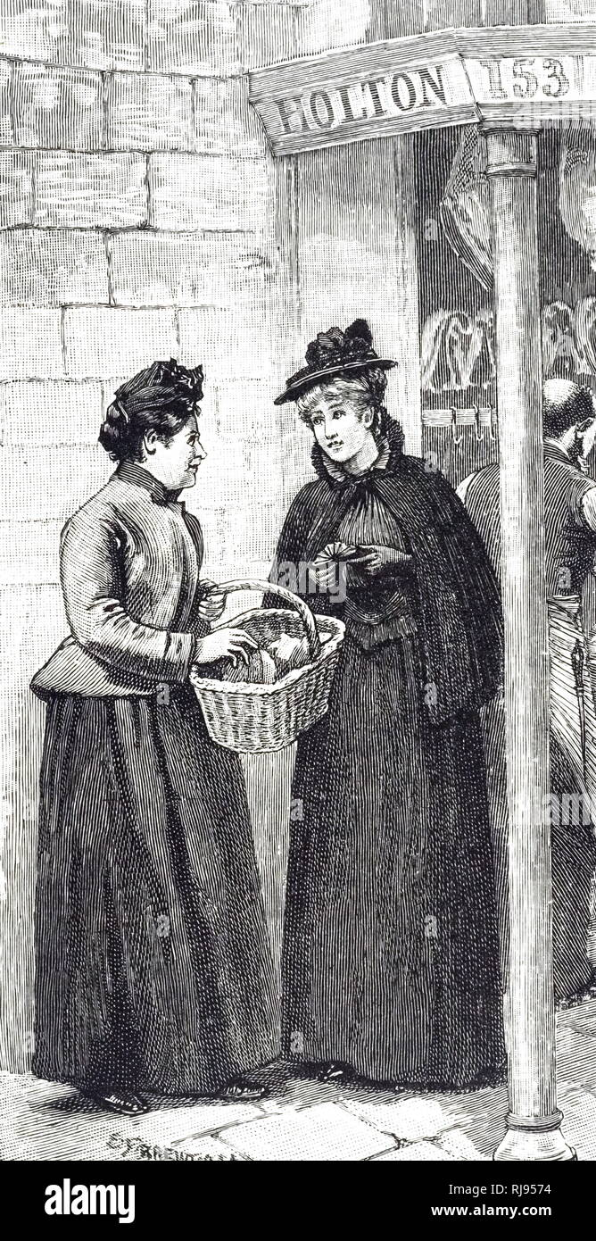 1a50e14564 An engraving depicting two women meeting outside of the butcher's shop.  Dated 19th century -